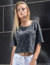 Ladies` Acid Washed Cropped Tee